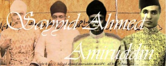 Sayyid Ahmed Amiruddin's grandfather, great grandfather, great-great grandfather, and great-great-great grandfather. (Left to right) Nawab Sayyid Munir-ud-din Khan Secunder Yar Jang II Asifjahi, Jagirdar, Taluqdar, Subedar, Commissioner, his son Nawab Karim Yar Jang Bahadur Sayyid Karim-ud-din Khan, Jagirdar, his son Nawab Farid-ud-din Khan, Jagirdar, his son Nawab Lt. Colonel Sayyid Mohammed Amiruddin Khan, Military Secretary to H.E.H. Asaf Jah VII the Nizam of Hyderabad.