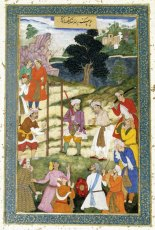 A Mughal miniature depicting the execution of Mansur al-Hallaj by Abbasid Caliph al-Muqtadir