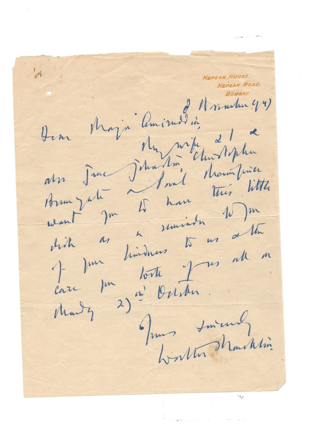 A hand written letter by Sir Walter Monckton, Q.C., Constitutional Adviser to H.E.H. the Nizam of Hyderabad