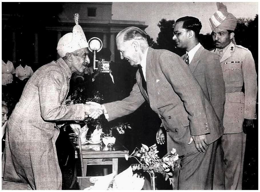 "President of Yugoslavia - Josip Broz Tito,"" meeting with The H.E.H The Nizam of Hyderabad and to the right in formal uniform is the late Lt Colonel Syed Mohammed Amiruddin, Military Secretary to H.E.H. The Nizam of Hyderabad (August 1917-September 2012)"