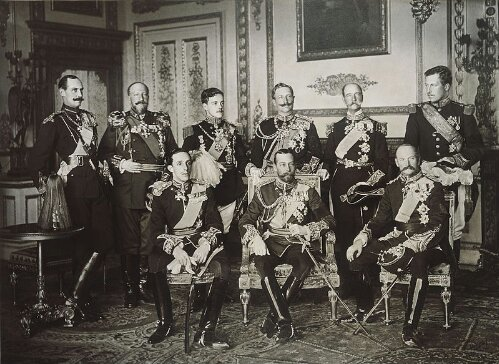 The nine European Monarchs who attended the funeral of King Edward VII of Britain, photographed at Windsor Castle on 20 May 1910. Standing, from left to right: King Haakon VII of Norway, Tsar Ferdinand of Bulgaria, King Manuel II of Portugal, Kaiser Wilhelm II of Germany, King George I of Greece and King Albert I of Belgium. Seated, from left to right: King Alfonso XIII of Spain, King George V of Britain and King Frederick VIII of Denmark.