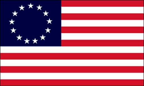 Betsy Ross' first American flag, provided by George Washington