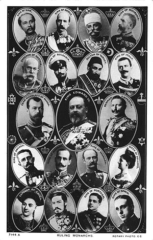 Postcard from 1908 showing nineteen of the world's reigning monarchs: (left to right) King Rama V/Chulalongkorn of Siam, King George I of Greece, King Peter I of Serbia, King Carol I of Romania, Emperor Franz Joseph of Austria-Hungary, Tzar Ferdinand I of Bulgaria, Sultan Abdul Hamid II of the Ottoman Empire, King Victor Emmanuel III of Italy, Emperor Nicholas II of the Russia, King Edward VII of Britain, Emperor Wilhelm II of Germany, King Gustav V of Sweden, King Haakon VII of Norway, King Frederick VIII of Denmark, Queen Wilhelmina of the Netherlands, Emperor Guangxu of China, Emperor Meiji of Japan, King Manuel II of Portugal and King Alfonso XIII of Spain.