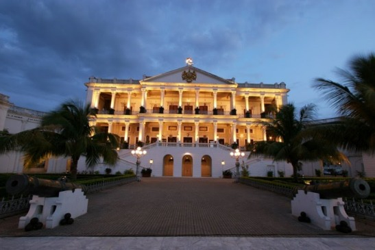 """Falaknuma Palace in Hyderabad. Built by Nawab Vicar-ul-Umra, the then-Prime Minister of Hyderabad State for H.H. The Nizam VI, Nawab Mir Mahboob Ali Khan Bahadur. Falak-Numa means """"Like the Sky"""" or """"Mirror of the Sky"""" in Urdu."""