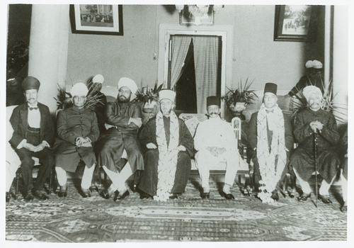 Hajj Amin in Hyderabad, Deccan, India, July 1933. From right to left, Unidentified; Muhammad Ali Alluba Pasha, an Egyptian leader accompanying Hajj Amin; Maharaja Kishen Pershad; Hajj Amin, Nawab Bahadur Yar Jang; Sayyid Amiruddin's maternal grandfather Syed Yusufuddin, Founder of the Rahbar-e-Deccan Urdu daily, unidentified. Unfortunately Hajj Amin, years after this meeting, decided to collaborate with the German Nazis during World War II, this decision is condemned and unacceptable.© Omar Khalidi.