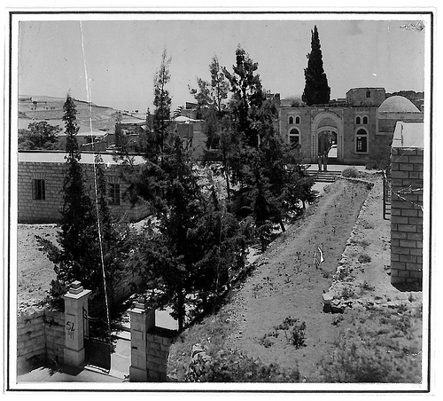 A View of Osman Manzil, named after H.E.H. the Nizam of Hyderabad, the main building in Zawiyat Hindiyyah, Palestine, 1945. © Ahmad al-Ansari.