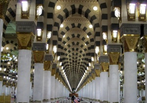 Nabataean motif pillars still present inside Haramayn Sharifayn at both Makkah and Madinah.