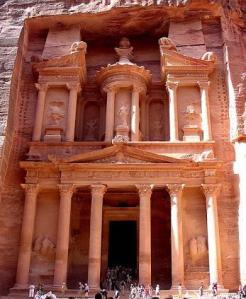Petra, Jordan. Built by the Nabatean Arab kings.