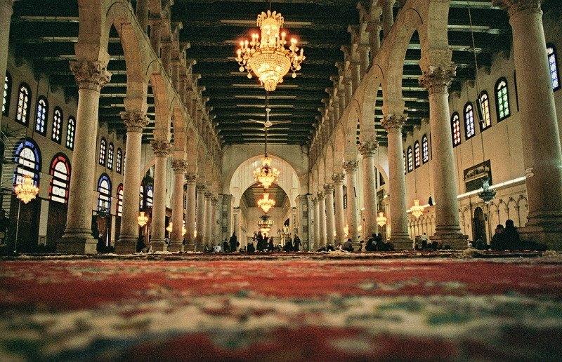 Nabatean Arab pillar motifs in the interior view of the Umayyad Mosque, Damascus.