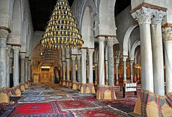 Nabatean Arab pillar motifs in the interior view of the prayer hall and Mihrab in the Great Mosque of Kairouan.